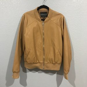 EUC Forever 21 Faux Leather Tan Bomber Jacket 1X